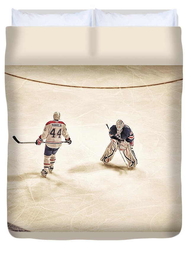 Hockey Duvet Cover featuring the photograph Opponents by Karol Livote