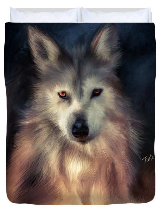 Wolfs Duvet Cover featuring the mixed media Wolf Art Animal Portrait by Mark Tonelli