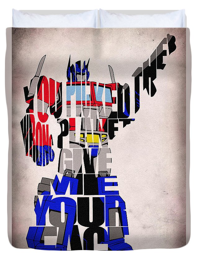 Optimus Prime Duvet Cover featuring the digital art Optimus Prime by Inspirowl Design