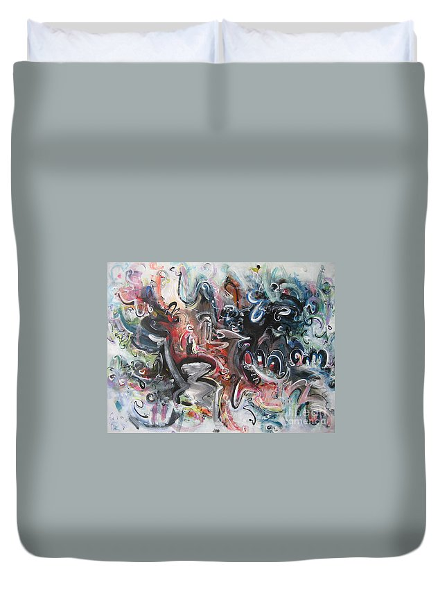 Orange Abstract Painting Duvet Cover featuring the painting Orang Elblue Black Grey Abstract Landscape Art by Seon-Jeong Kim