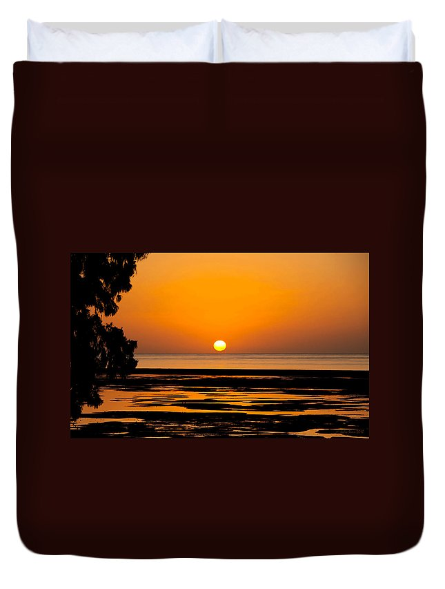 Sunset Duvet Cover featuring the photograph Orange And Black Sunset Abstract by Julis Simo