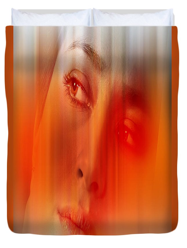 Abstract Duvet Cover featuring the digital art Orange Beauty by Nathan Wright