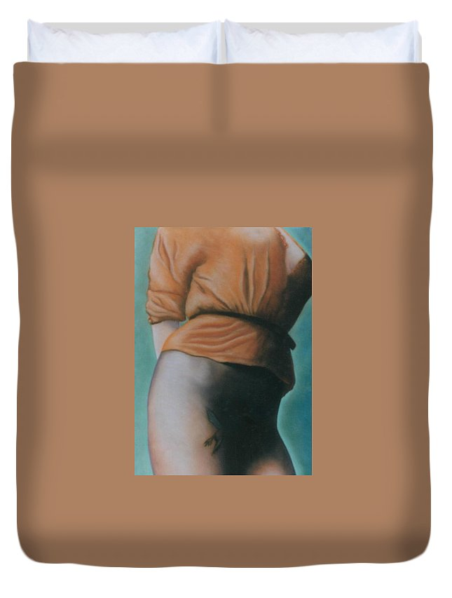 Sensual Duvet Cover featuring the pastel Orange Blouse by Mary Ann Leitch