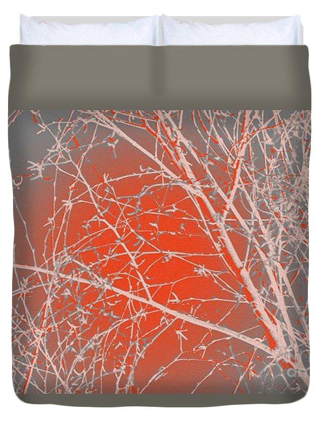 Orange Duvet Cover featuring the digital art Orange Branches by Carol Lynch