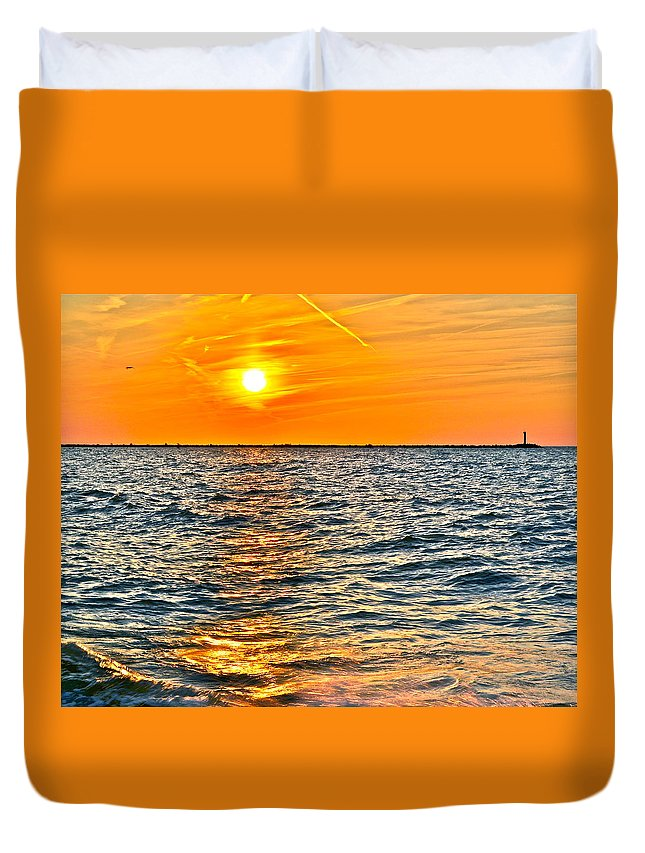 Seascape Duvet Cover featuring the photograph Orange Burn by Frozen in Time Fine Art Photography