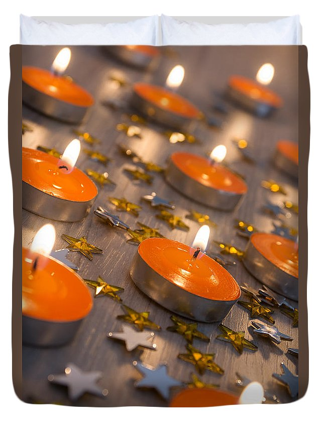 Orange Duvet Cover featuring the photograph Orange Candles by Carlos Caetano