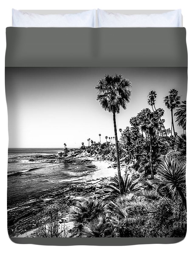 America Duvet Cover featuring the photograph Orange County California In Black And White by Paul Velgos
