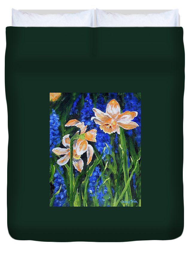 Flowers Duvet Cover featuring the painting Orange Daffs by Jamie Frier