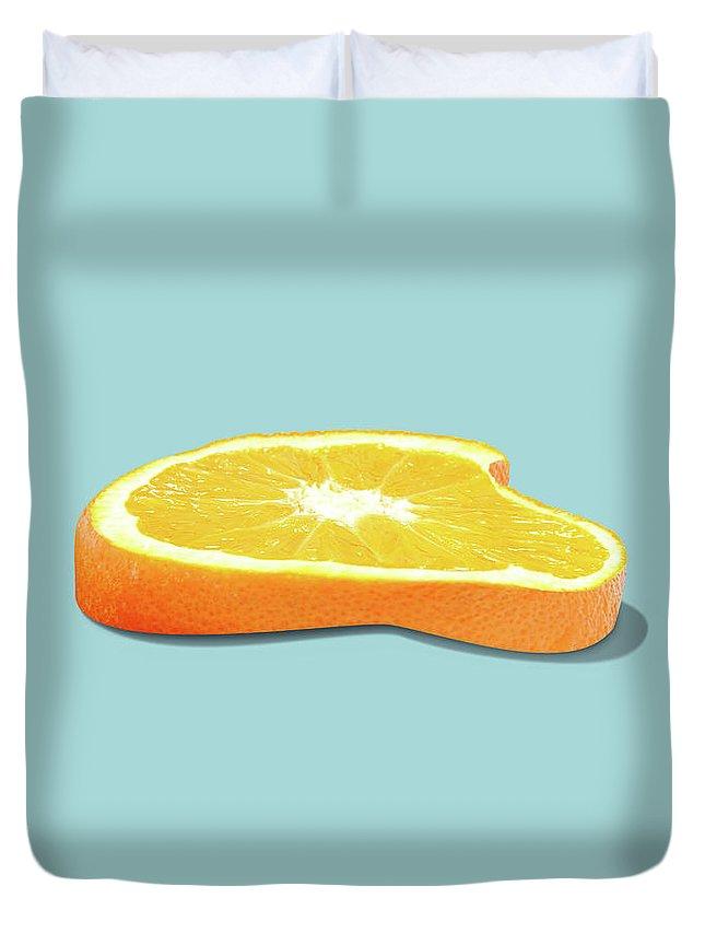 Orange Duvet Cover featuring the photograph Orange Fruit Slice by Dan Cretu