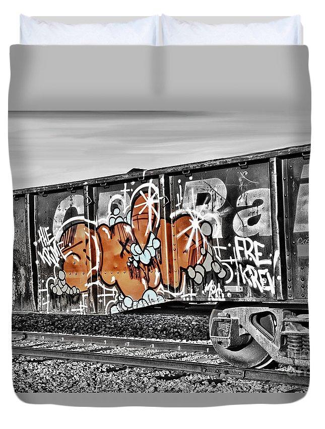Orange Duvet Cover featuring the digital art Orange Graffiti by Lori Frostad