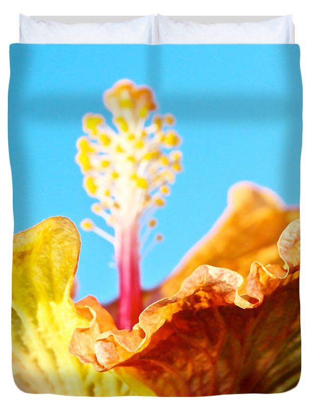 Orange Hibiscus Duvet Cover featuring the photograph Orange Hibiscus Texture I by Olivia Novak