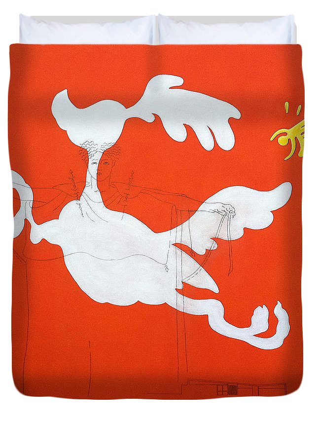 Palm Springs Duvet Cover featuring the painting Orange Palm Springs Idyll by Stan Magnan