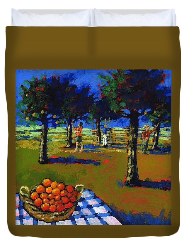 Grove Duvet Cover featuring the photograph Orange Picking by Paul Powis