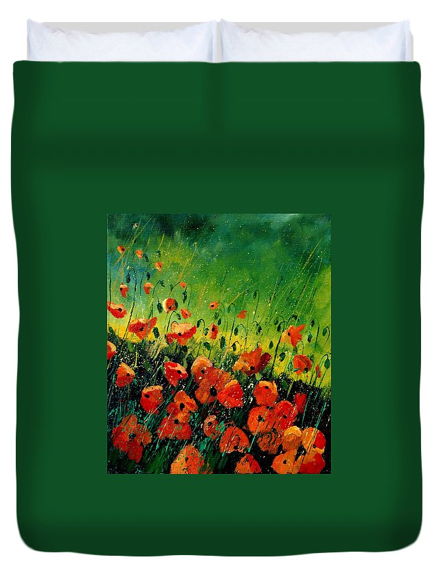 Poppies Duvet Cover featuring the painting Orange Poppies by Pol Ledent