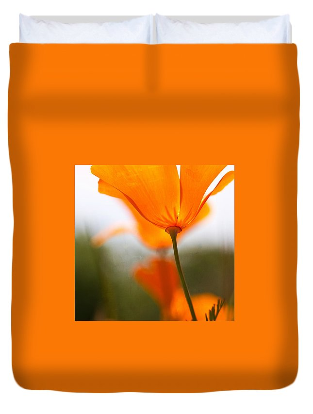 Poppy Duvet Cover featuring the photograph Orange Poppy In Sunlight by Marie Jamieson