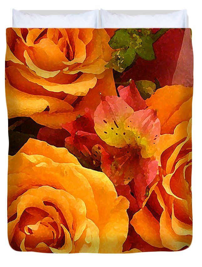Roses Duvet Cover featuring the painting Orange Roses by Amy Vangsgard