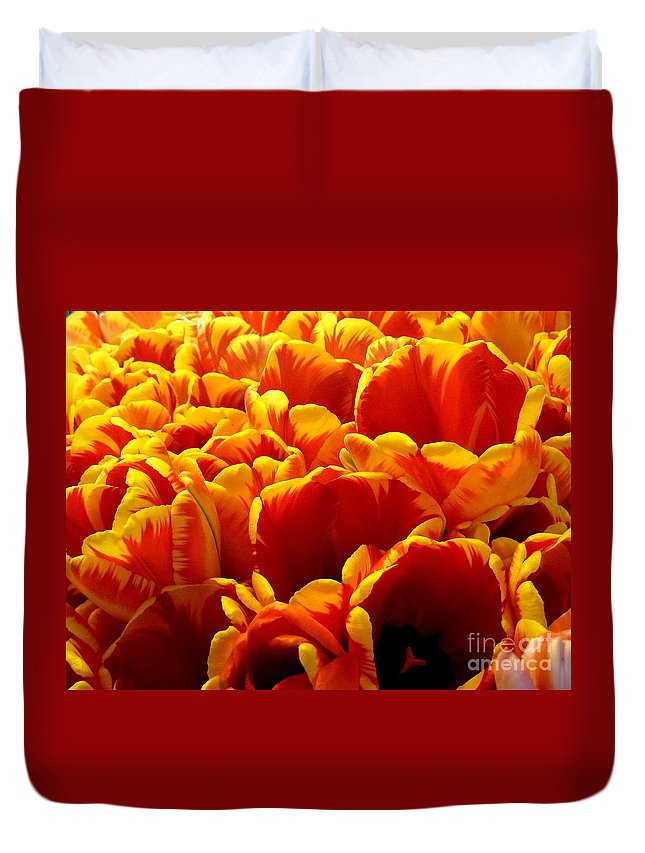Abstract Duvet Cover featuring the photograph Orange Sea by Lauren Leigh Hunter Fine Art Photography