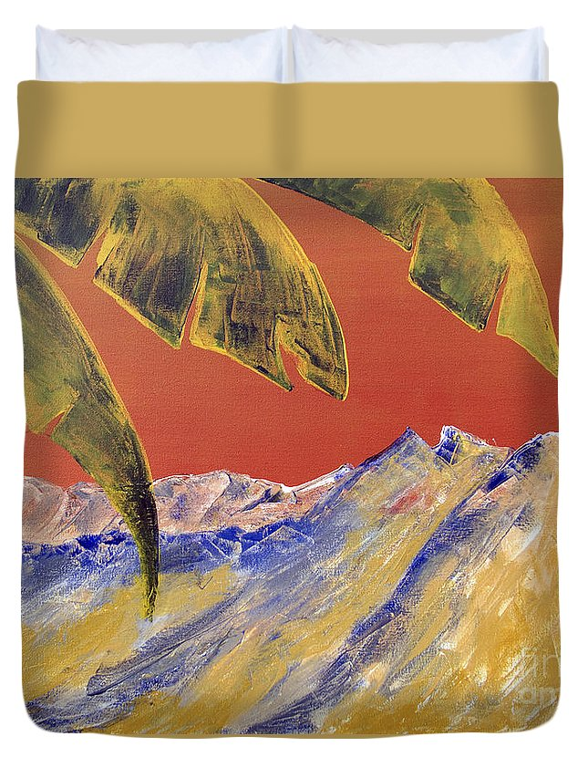 Landscape Painting Duvet Cover featuring the painting Orange Sky by Kandyce Waltensperger