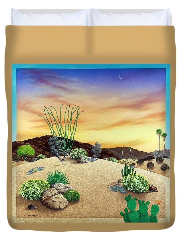 Desert Duvet Cover featuring the painting Orange Sky Sunset by Snake Jagger
