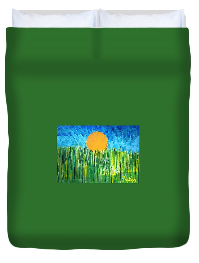 Vincent Van Gogh Inspired Landscape Duvet Cover featuring the painting Orange Sun by Don Parker
