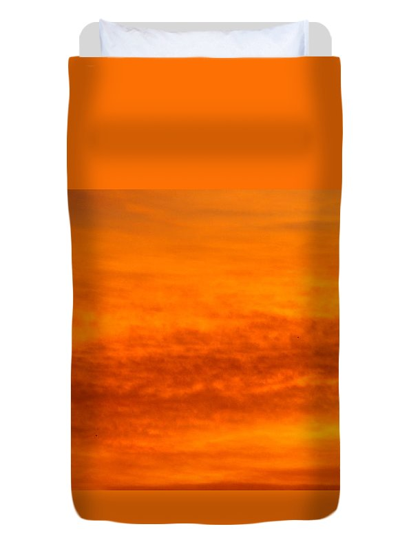 Morning Clouds Of Orange Duvet Cover featuring the photograph Orange Sunrise by Jeffery L Bowers