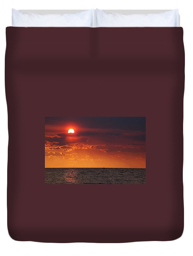 Alabama Duvet Cover featuring the digital art Orange Sunset Over Oyster Bay by Michael Thomas