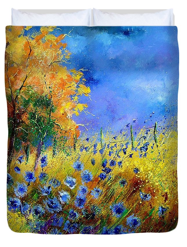 Poppies Duvet Cover featuring the painting Orange Tree And Blue Cornflowers by Pol Ledent