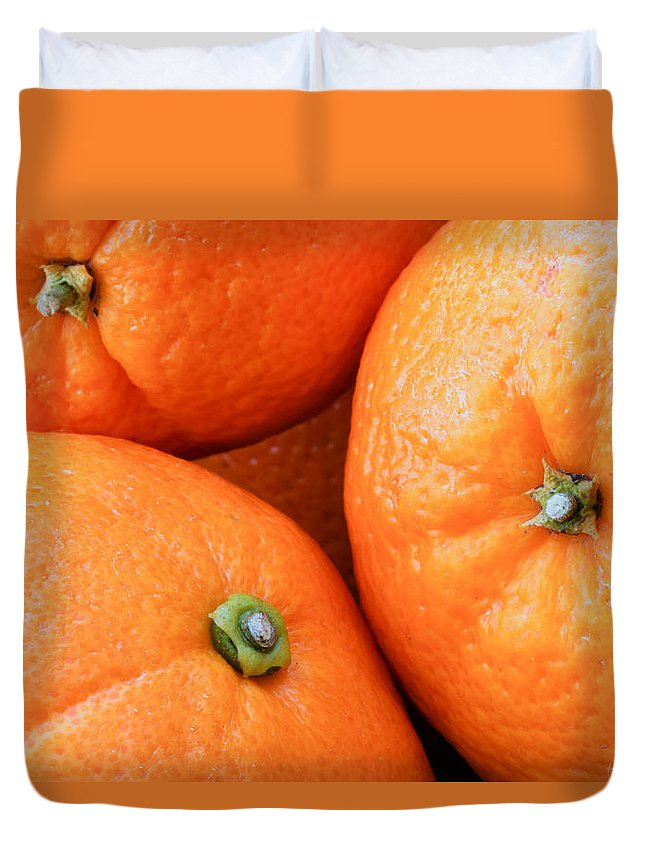 Background Duvet Cover featuring the photograph Orange Trio by Heidi Smith