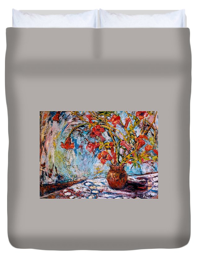 Trumpet Flowers Duvet Cover featuring the painting Orange Trumpet Flowers by Kendall Kessler