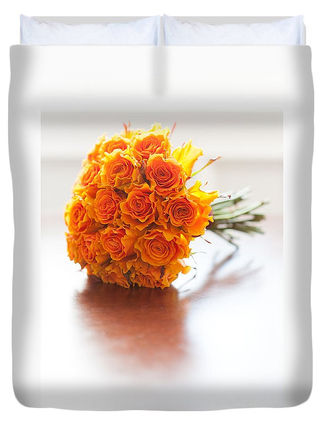 Beautiful Duvet Cover featuring the photograph Orange Wedding Bouquet Roses by Lee Avison