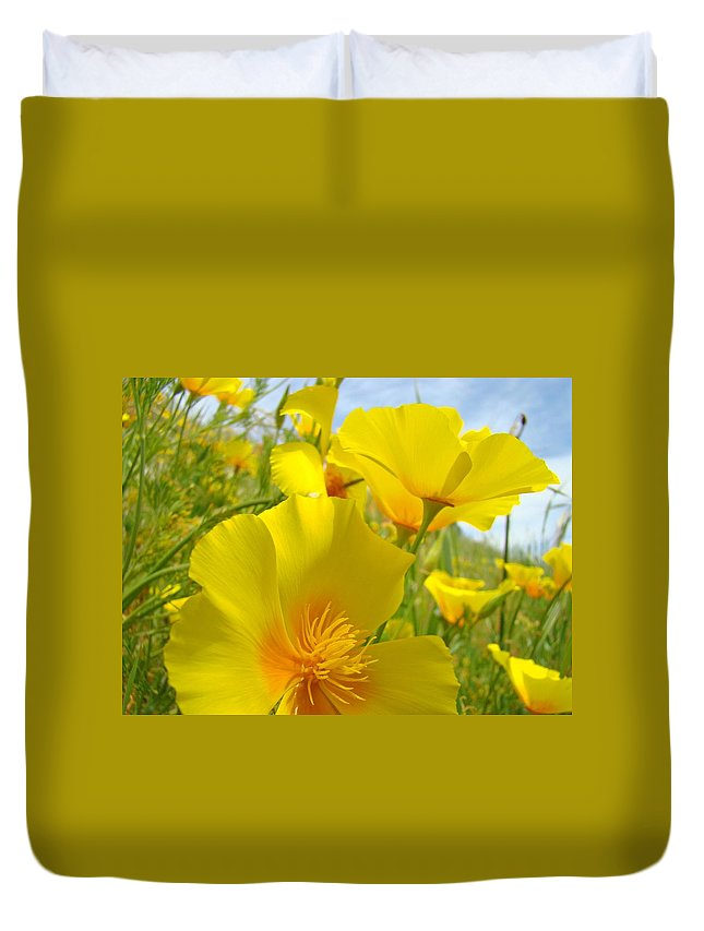 Yellow Duvet Cover featuring the photograph Orange Yellow Poppy Flowers Meadow Art by Baslee Troutman