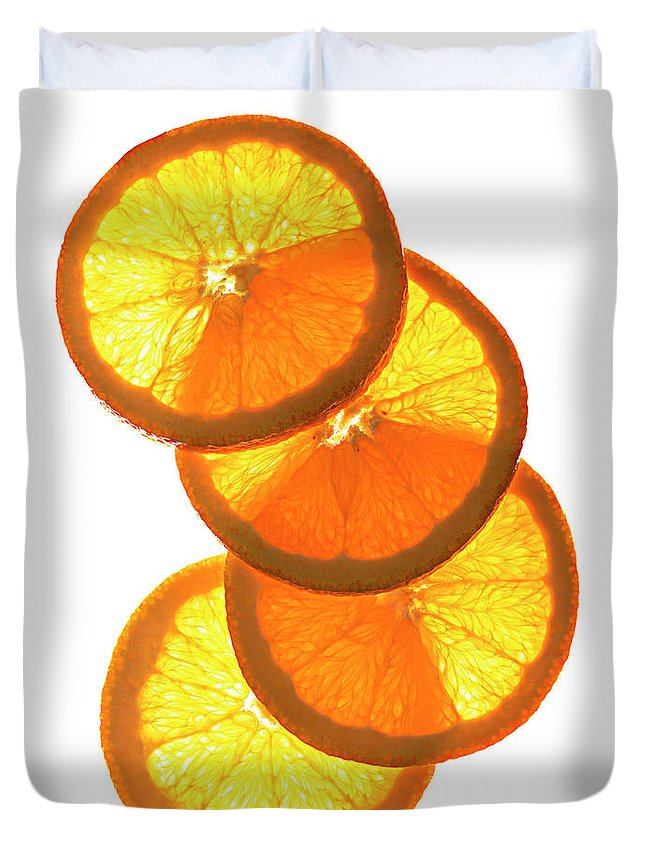 Orange Color Duvet Cover featuring the photograph Oranges On White by Jack Andersen