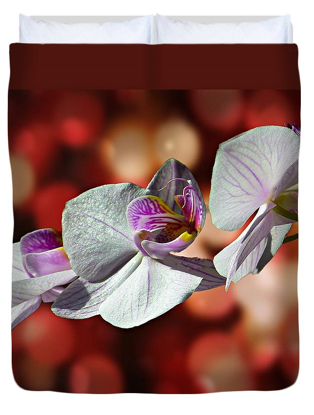 Orchid Duvet Cover featuring the photograph Orchid Flower Photographic Art by David Dehner