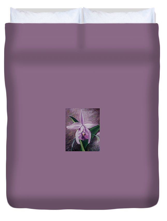 Orchid Purple Floral Botanical Duvet Cover featuring the painting Orchid Lalia by Karin Dawn Kelshall- Best