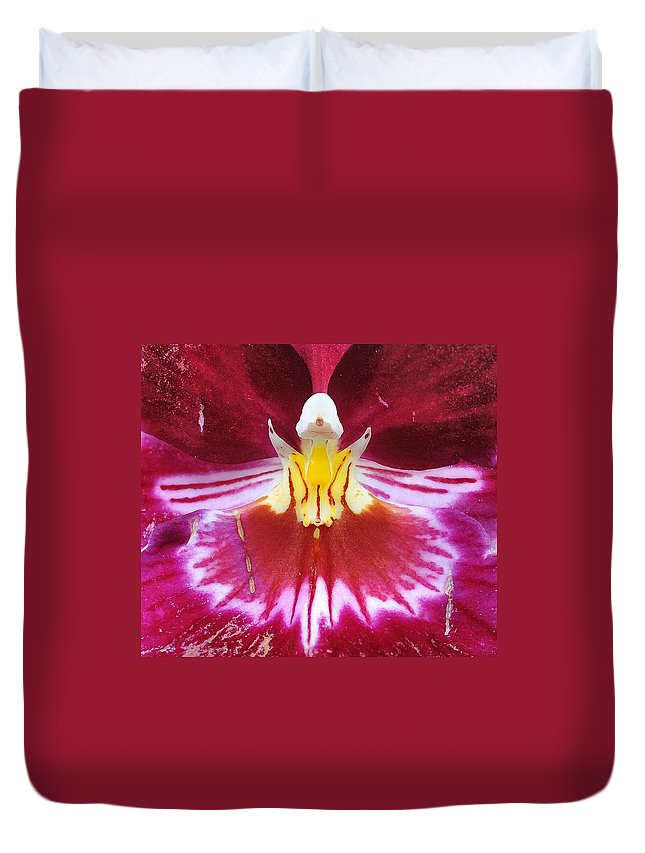 Orchid Duvet Cover featuring the photograph Orchid Pink Yellow White by Steve Archbold