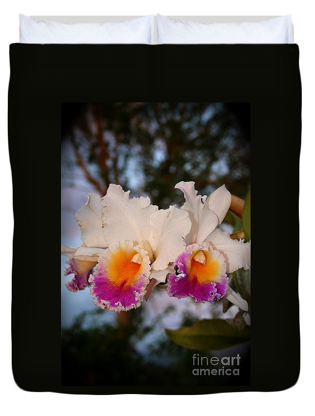 Orchid Duvet Cover featuring the photograph Orchid Elsie Sloan by The Art of Alice Terrill