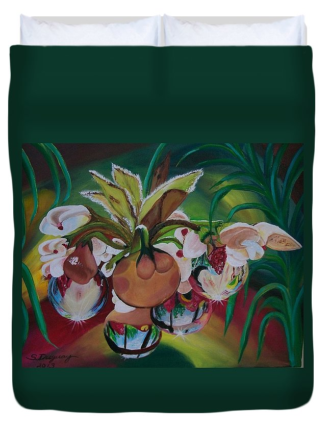 Spring Duvet Cover featuring the painting Orchids In Raindrop Reflections by Sharon Duguay
