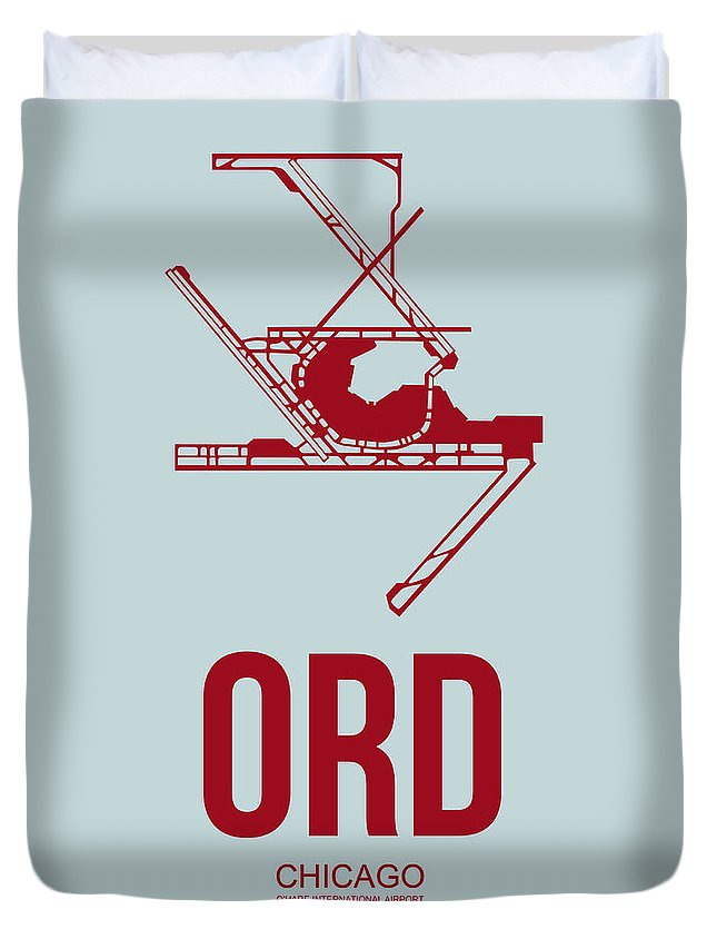 Chicago Duvet Cover featuring the digital art Ord Chicago Airport Poster 3 by Naxart Studio