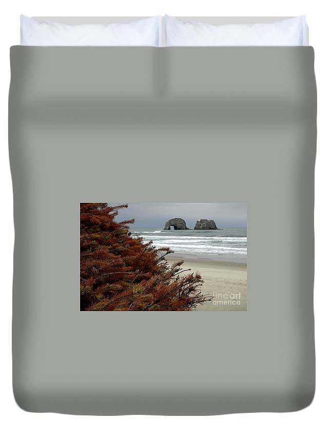 Duvet Cover featuring the photograph Oregon Beach by Mike Nellums