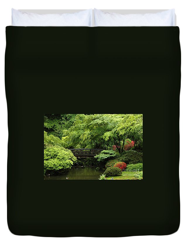 Duvet Cover featuring the photograph Oregon Japanese Garden by Mike Nellums