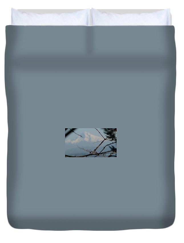 Mountain Framed Duvet Cover featuring the photograph Oregon Nature Frames Mountain by Susan Garren