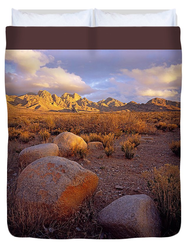 New Mexico Duvet Cover featuring the photograph Organ Mountains Sunset by Tom Daniel