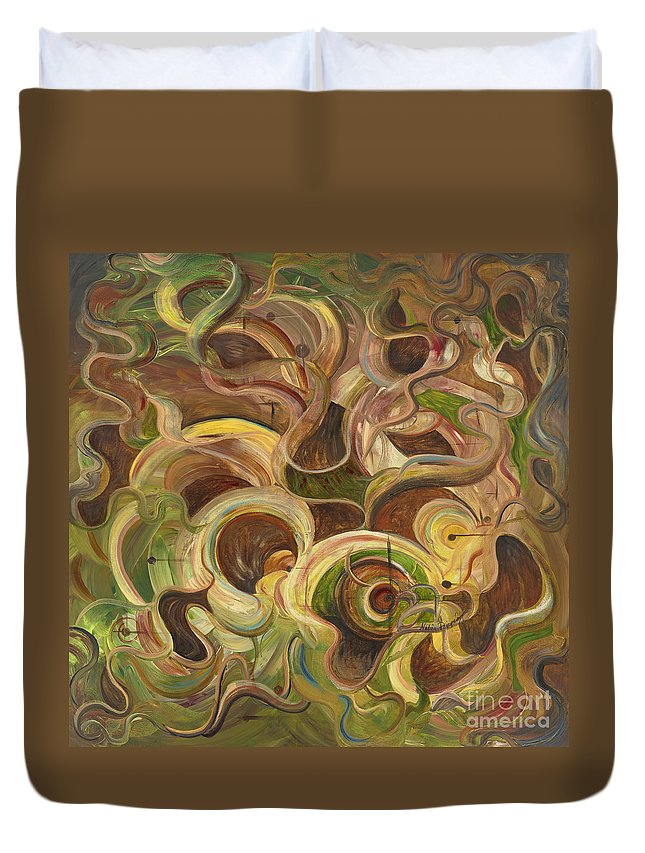 Organic Duvet Cover featuring the painting Organic Life by Nadine Rippelmeyer