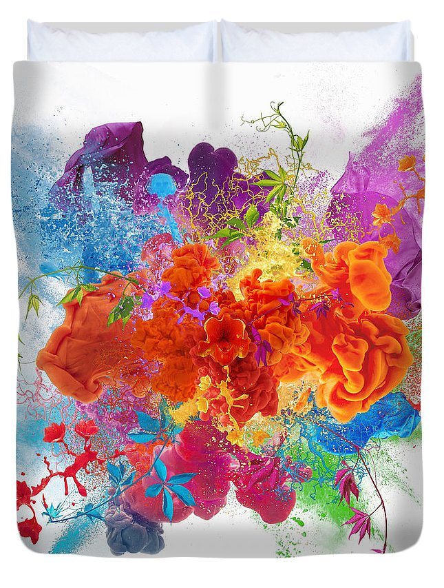 Material Duvet Cover featuring the digital art Orgasm by Vizerskaya