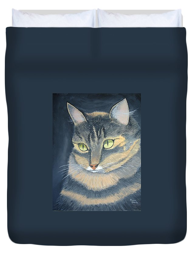 Cat Duvet Cover featuring the painting Original Cat Painting by Norm Starks