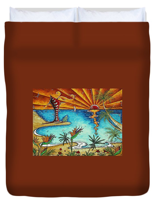 Abstract Duvet Cover featuring the painting Original Coastal Surfing Whimsical Fun Painting Tropical Serenity By Madart by Megan Duncanson