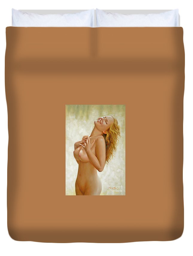 Art Duvet Cover featuring the painting original Oil painting body nude girl on canvas#16-2-5-02 by Hongtao Huang