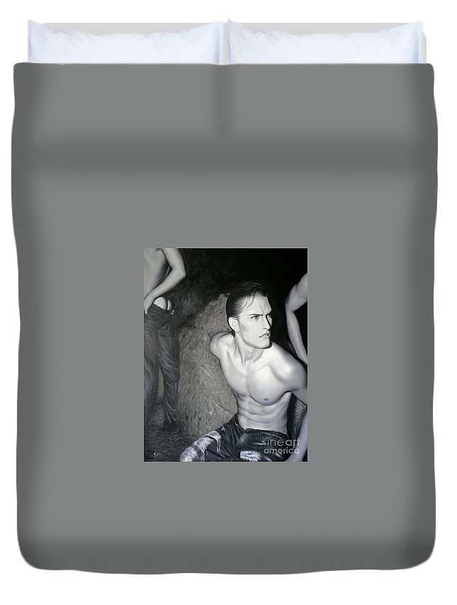 Art Duvet Cover featuring the painting original Oil painting gay man body male nude art on canvas-201 by Hongtao Huang