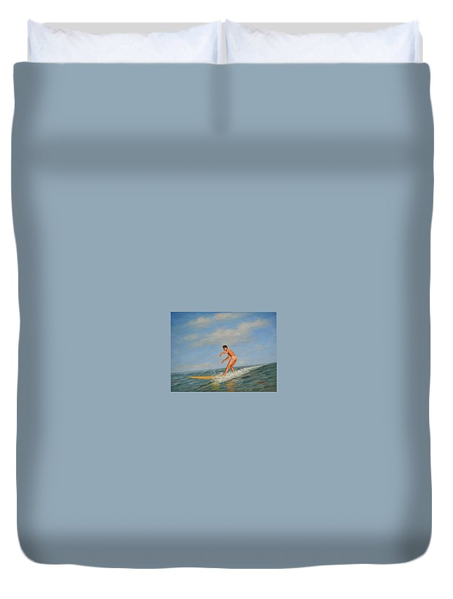 Art Duvet Cover featuring the painting original Oil painting male nude man art in the sea on canvas#16-2-5-01 by Hongtao Huang