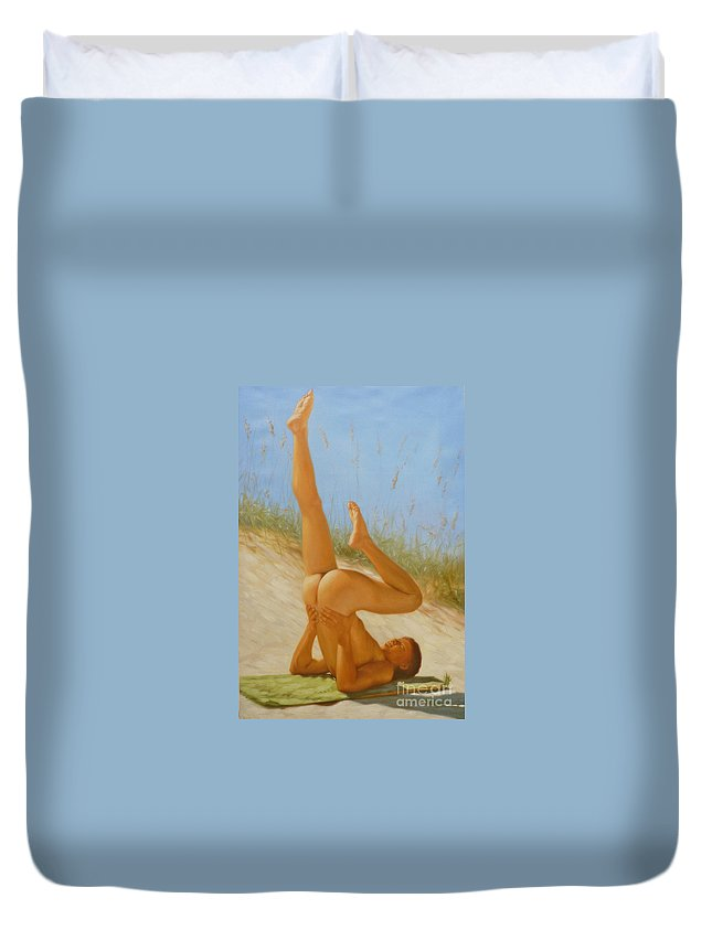 Art Duvet Cover featuring the painting Original Oil Painting Man Art Male Nude On Sand On Canvas#16-2-5-05 by Hongtao Huang